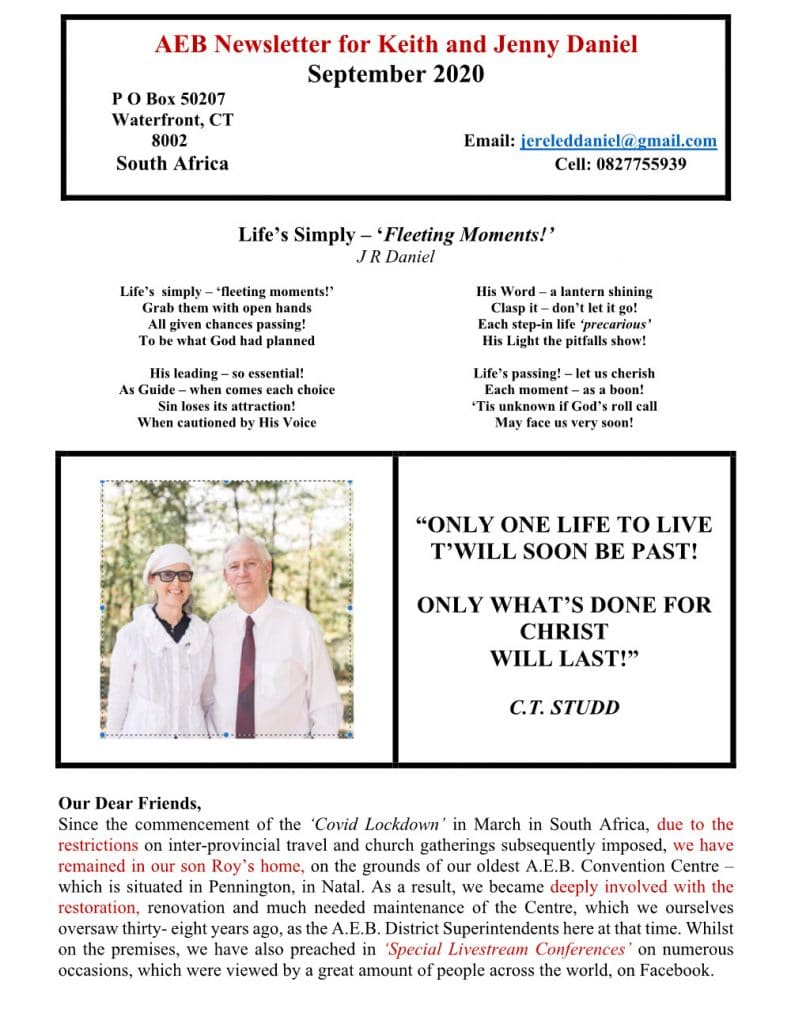 Keith Daniel Sept Newsletter Page 1